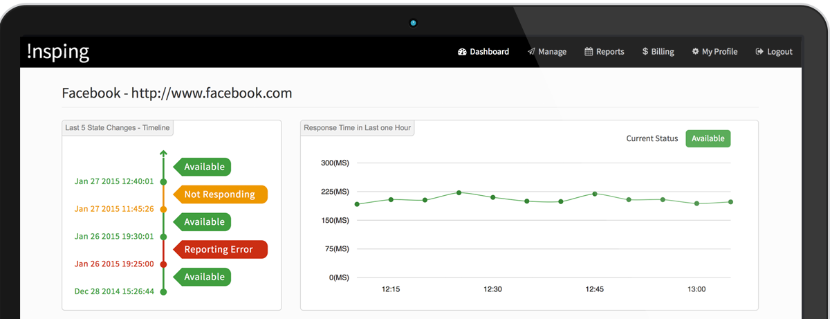 Insping Dashboard Page Screenshot